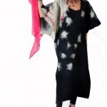 Svart/vit Kimono-klän.siden/merinoull