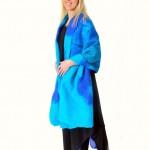 Turkos/blå Cape-sjal,siden/merinoull